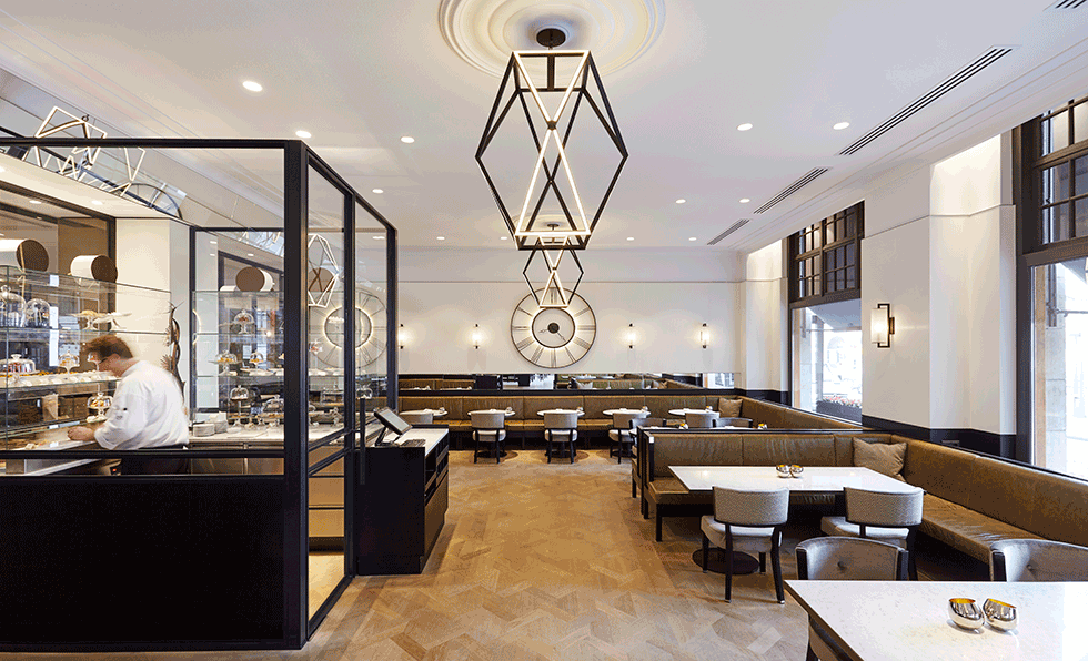 Restaurant Casual Fast Finalist Grand Caf Krasnapolsky Amsterdam Studio Proof Oak Parquet Flooring Leads Guests Into The
