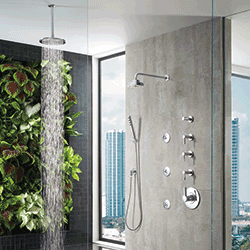 Fully Customizable, The Brizo Sensori Shower Systemu2014available Through  Deltau2014comprises Four Interchangeable Spray Heads Equipped With H20kinetic  Technology ...
