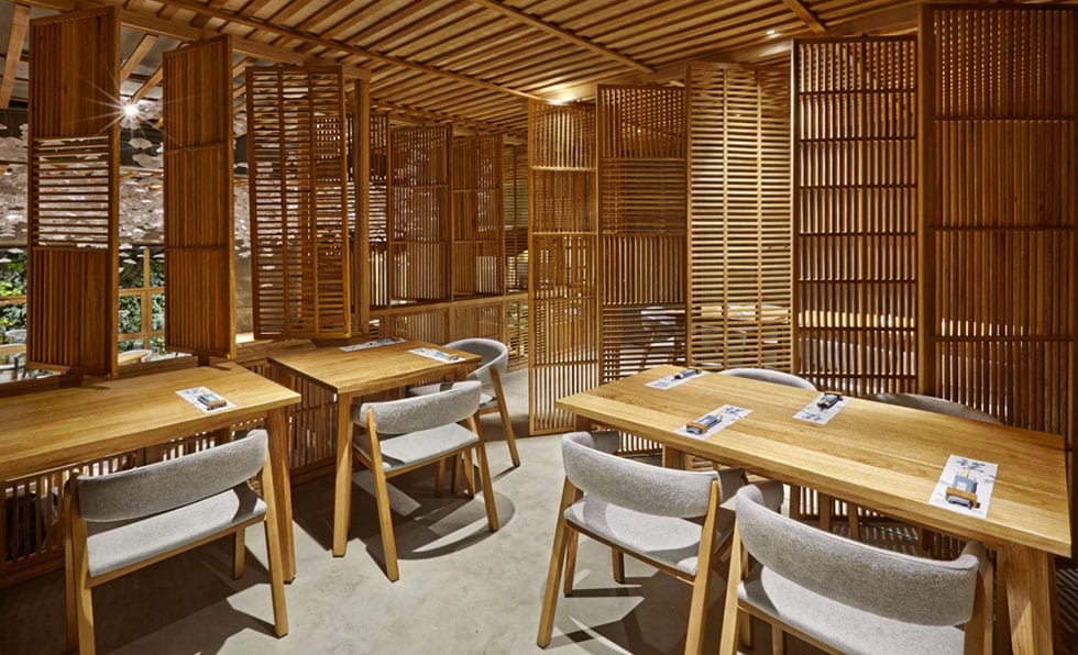 midcentury modern inspired furnishings throughout bring a western quality to the japanese style space